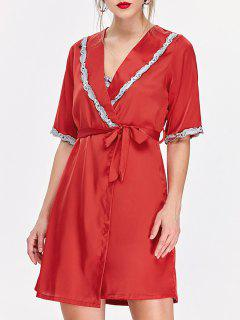 Lace Hem Nightdress And Sleep Robe With Belt - Red M