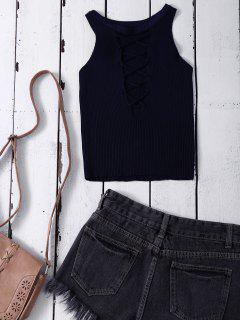Cropped Lace Up Sweater Tank Top - Purplish Blue