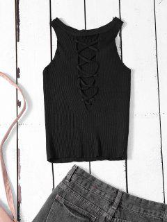 Cropped Lace Up Sweater Tank Top - Black
