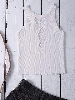 Cropped Lace Up Sweater Tank Top - White