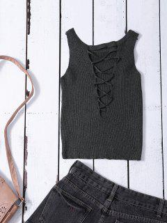 Cropped Lace Up Sweater Tank Top - Gray
