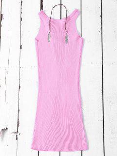 Sleeveless Ribbed Knit Bodycon Dress - Pink