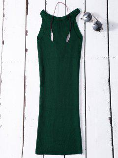 Sleeveless Ribbed Knit Bodycon Dress - Green