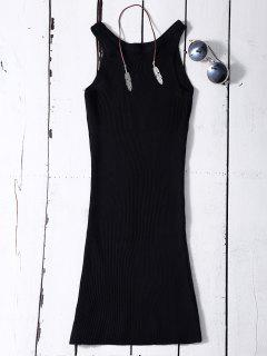 Sleeveless Ribbed Knit Bodycon Dress - Black