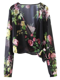 Knotted Cropped Surplice Floral Blouse - Black L