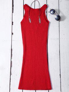 Sin Mangas Vestido Ajustado De Punto Acanalado - Rojo