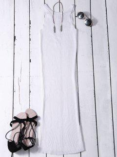 Sleeveless Ribbed Knit Bodycon Dress - White
