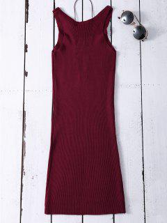 Sleeveless Ribbed Knit Bodycon Dress - Wine Red
