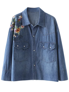 Floral Embroidered Denim Shirt With Pockets - Denim Blue M