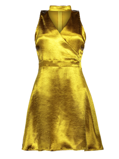 Mini Metallic Satin Halsband Kleid - Golden S