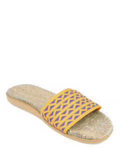 Geometric Pattern Linen Color Block House Slippers - Yellow Size(37-38)