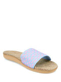 Geometric Pattern Linen Color Block House Slippers - Light Purple Size(37-38)
