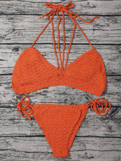 String Crochet High Leg Bikini Set - Watermelon Red