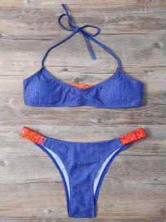 Denim Look High Leg Bikini - Blue S