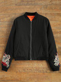Lined Embroidered Bomber Jacket - Black L
