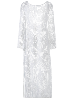 Flare Sleeve Sheer Lace Maxi Dress - White L