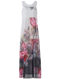 Sleeveless Chiffon Maxi Floral Dress - White S