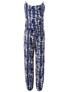 Cami Tie Dye Beach Jumpsuit - Blue Xl