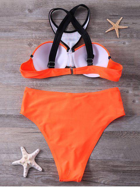 fancy Print Panel Push Up Bikini Set - JACINTH M Mobile