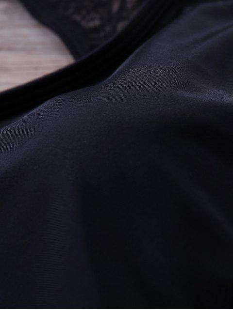 Lace Panel Volants One-Piece Maillots de bain - Noir XL Mobile