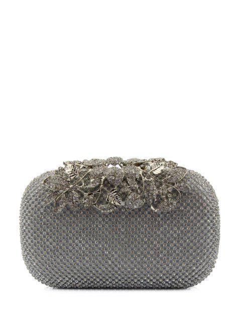 fashion Rhinestone Trimming Metal Leaves Evening Bag - SILVER  Mobile