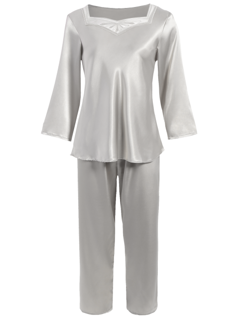 sale Faux Silk Sweetheart Neck Pajama Suit - SILVER M Mobile