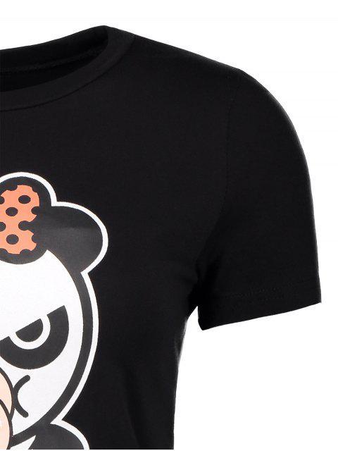 women Cartoon Panda Pattern Tee - BLACK M Mobile