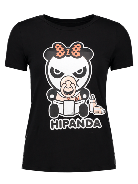 womens Cartoon Panda Pattern Tee - BLACK S Mobile