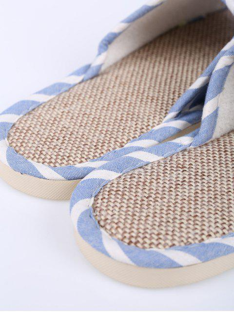 fashion Linen Striped Cotton Fabric House Slippers - LIGHT BLUE SIZE(37-38) Mobile