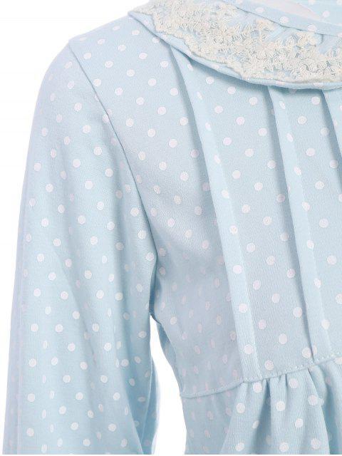 hot Peter Pan Collar Polka Dot Loungewear Set - LIGHT BLUE M Mobile