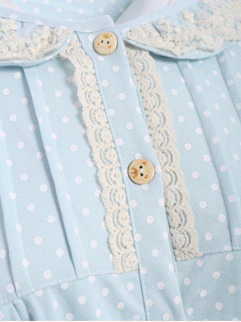 women Peter Pan Collar Polka Dot Loungewear Set - LIGHT BLUE L Mobile