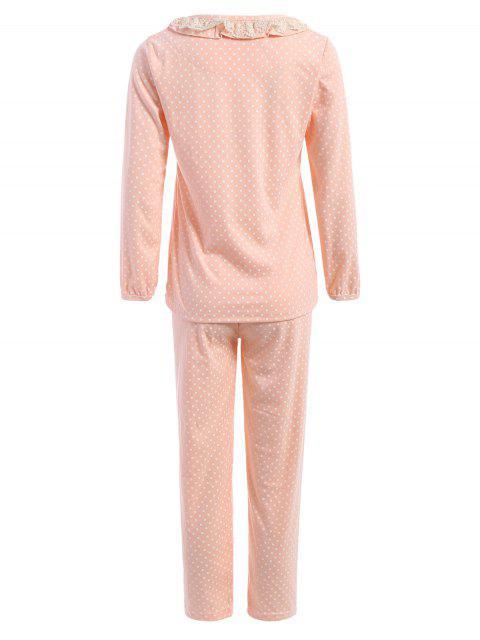ladies Peter Pan Collar Polka Dot Loungewear Set - ORANGEPINK XL Mobile