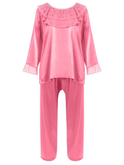 online Fringed Ruffle Pullover Faux Silk Loungewear - DEEP PINK XL Mobile