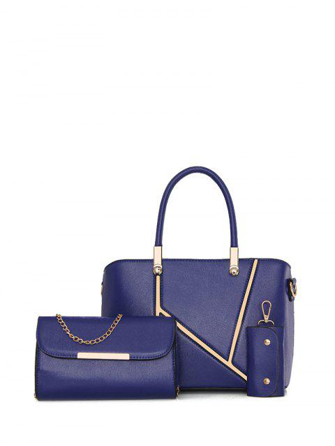 shops Metal Embellished Handbag Set - BLUE  Mobile
