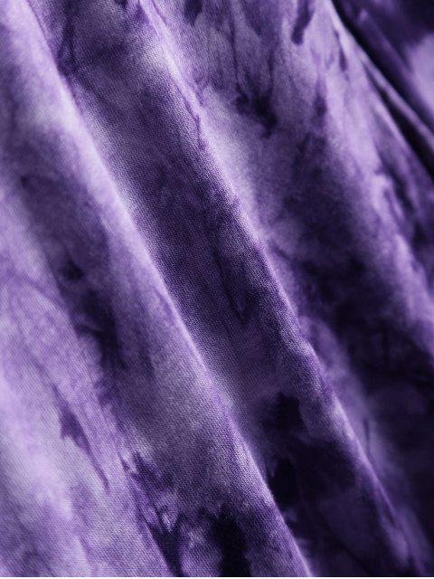 buy Asymmetric Tie-Dyed T-Shirt - PURPLE S Mobile