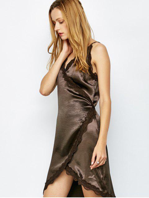 hot Lace Trim Slip Party Wear Dress For Women - DARK COFFEE M Mobile