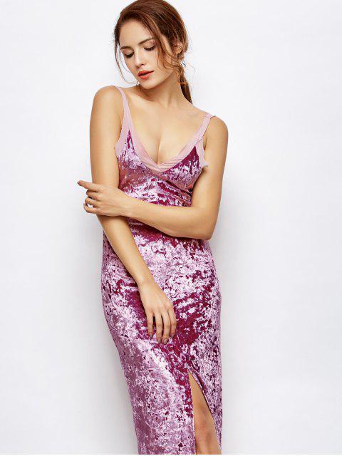 best Front Slit Crushed Velvet Maxi Dress - PURPLE M Mobile
