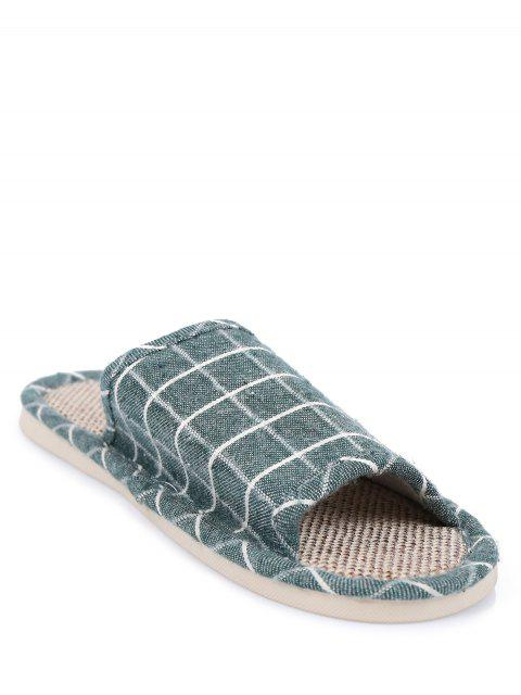 affordable Linen Color Block Plaid House Slippers - GREEN SIZE(39-40) Mobile