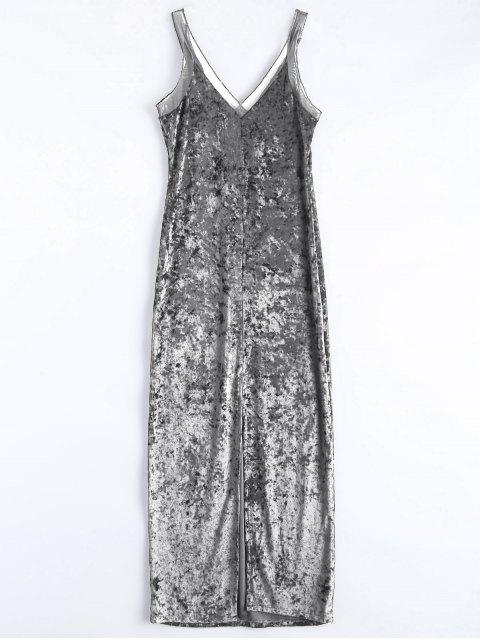 hot Front Slit Crushed Velvet Maxi Dress - SILVER M Mobile