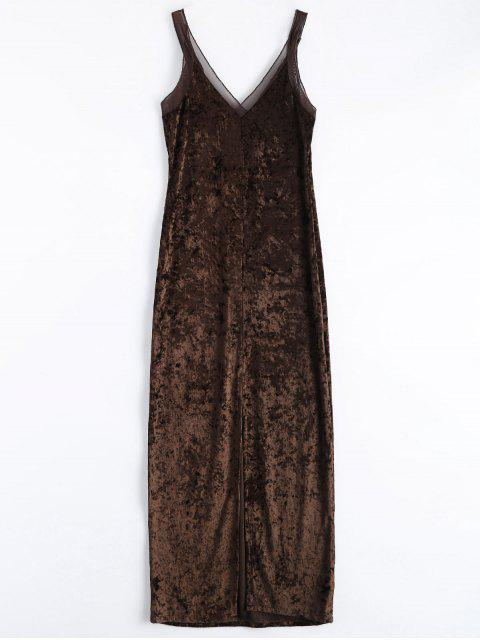 shop Front Slit Crushed Velvet Maxi Dress -   Mobile