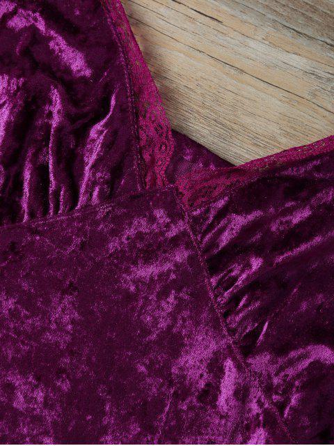 womens Sweatheart Velvet Cami Top - DEEP PURPLE S Mobile