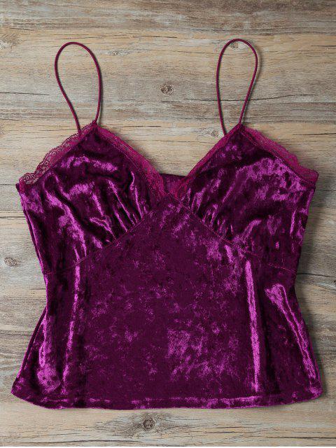 buy Sweatheart Velvet Cami Top - DEEP PURPLE M Mobile