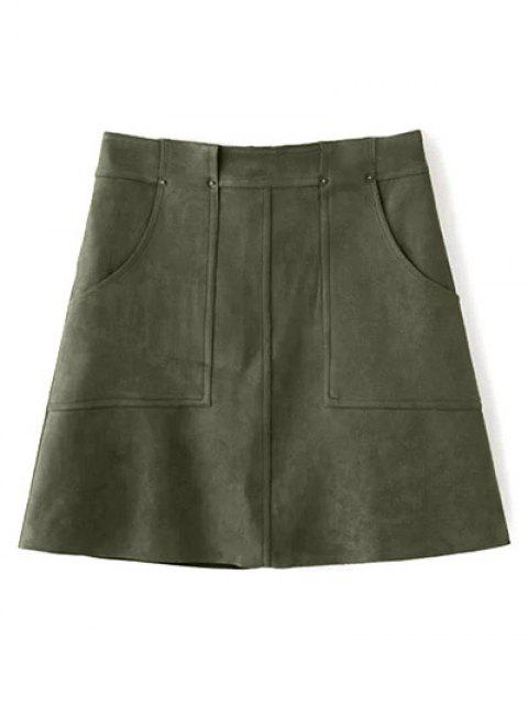 chic A Line Front Pockets Suede Skirt - OLIVE GREEN M Mobile