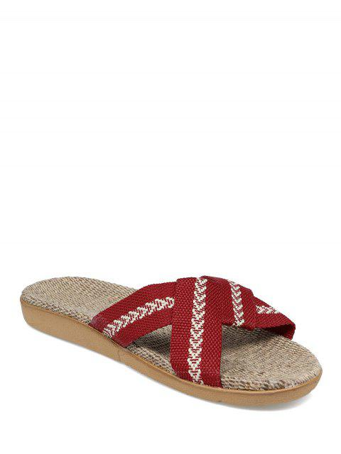 women Linen Color Block Cross Straps Slippers - DEEP RED SIZE(37-38) Mobile