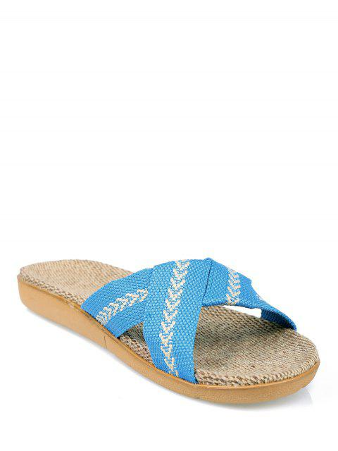 ladies Linen Color Block Cross Straps Slippers - AZURE SIZE(37-38) Mobile