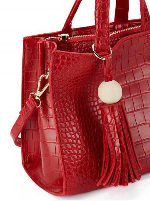 fancy Crocodile Pattern Tassel Tote - RED  Mobile