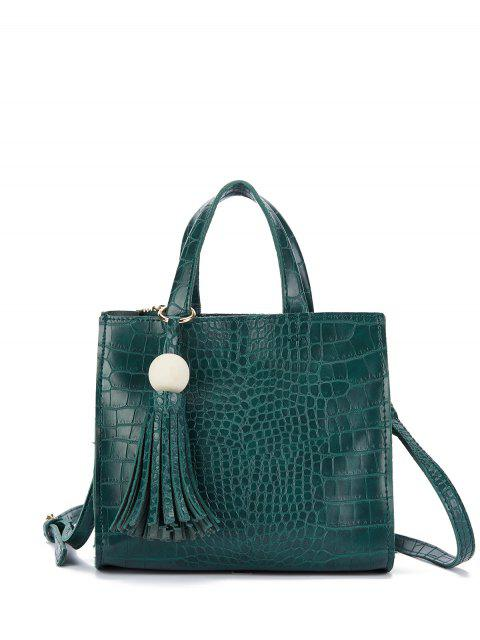 sale Crocodile Pattern Tassel Tote - GREEN  Mobile