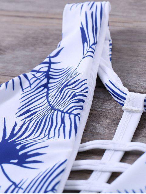 women Strappy Printed One-Piece Swimwear - WHITE L Mobile