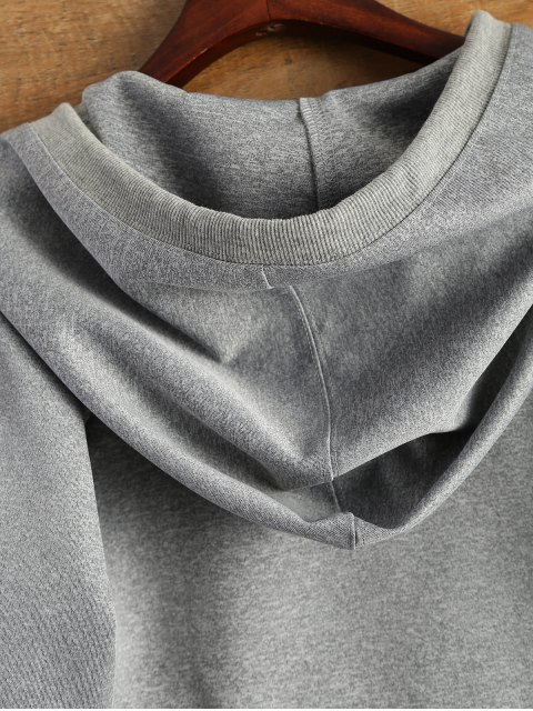 unique Hooded Cropped Jacket - GRAY L Mobile