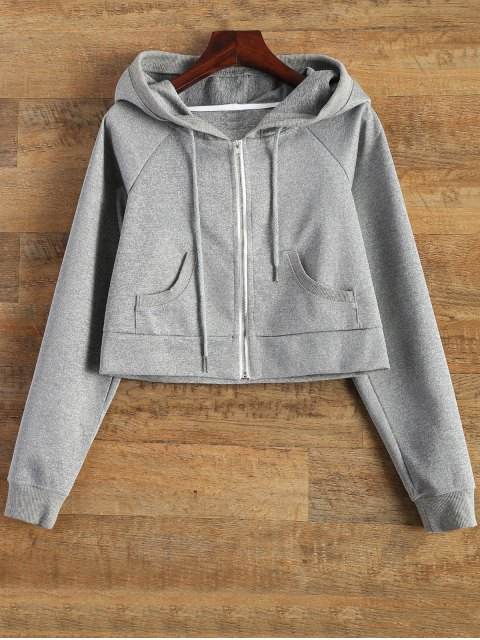 fancy Hooded Cropped Jacket - GRAY XL Mobile